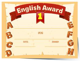 Zertifikatvorlage mit englischem Preis