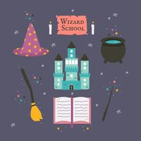 Wizard School Icons Vector