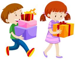 Boy and girl with present boxes