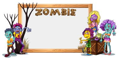 Wooden frame template with many zombies vector