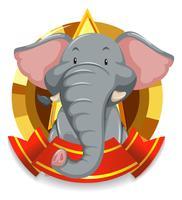 Plantilla de banner con elefante gris
