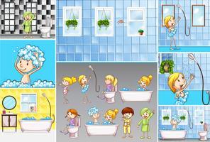 Cenas de casa de banho com crianças fazendo atividades diferentes