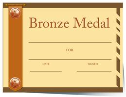 Certificate template with bronze medal