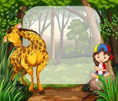 Little girl and giraffe in the woods