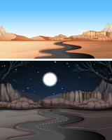 Road to the desert day and night