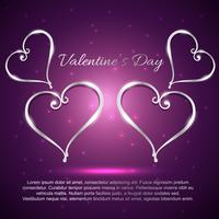valentijnskaart mooie harten op paarse achtergrond