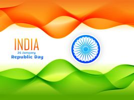 indian republic day flag design made with tricolor wave