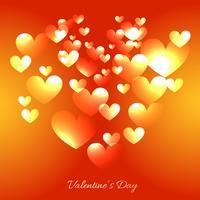 Valentijnsdag kaart met veelvouden harten