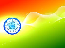 Rueda de la bandera India con onda en fondo tricolor