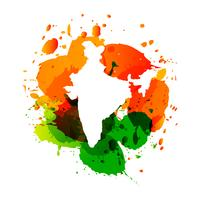 vector map of india with colorful ink splashes