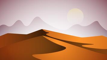 Desert landscape. Pyramid and sun. vector