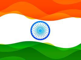 indian flag made in simple wave style with tricolor