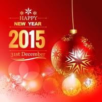 bella palla rossa di Natale con auguri di buon anno