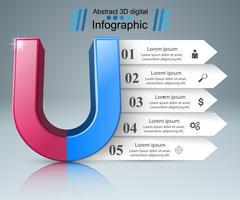 Icona realistica del magnete. Infografica di affari