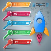 Rocket, key - 3d business infographic.