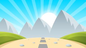 Cartoon landscape mountain, sun, light