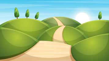 Cartoon landscape illustration. Sun. cloud, mountain, hill.