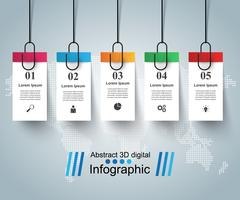 Illustrazione digitale 3D Infographic. Pin, icona di clip.
