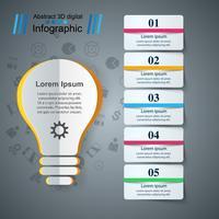 Buld, infografía de negocios de papel ligero.