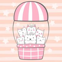 Katt, kattungecken. Luftballong illustration.