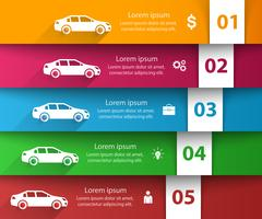 Weg infographic ontwerpsjabloon en marketing pictogrammen. Auto pictogram.