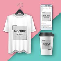 Set maqueta camiseta, teléfono inteligente, taza, café, té