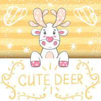 Cute, funny cartoon deer illustration.