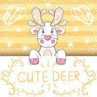Illustrazione di cervi carino, divertente cartone animato.