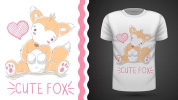 Süßer Fuchs für bedrucktes T-Shirt.