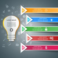 Projeto infográfico. Lâmpada, ícone de luz.