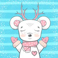 Cute bear, deer - baby illustration. vector
