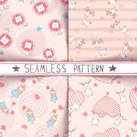 Unicorn, deer, girl, rabbit - seamless pattern