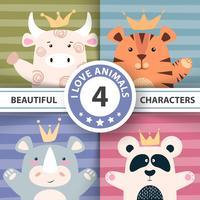 Ange tecknade tecken - tjur, panda, tiger, noshörning.