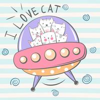 Cute, cool, pretty, funny, crazy, beautiful cat character. Ufo illustration.