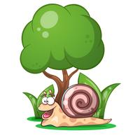snail, animals, tree, grass cartoon characters vector