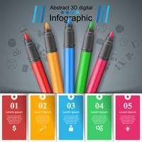Infográfico de educação. Cinco itens arte infográfico.