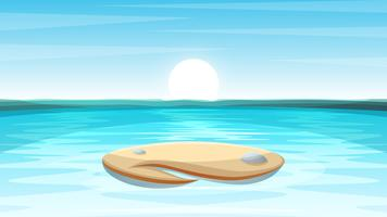 Cartoon eiland landschap illustratie.
