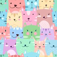 Cat, kitty - cute, funny pattern. vector