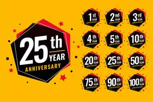 event festive anniversary labels set