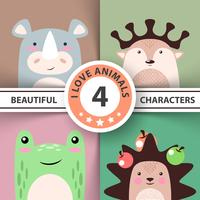 Cartoon animal set - rhino, deer, frog, hedgehog