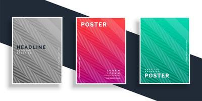conjunto de design de cartaz de padrão de ziguezague colroful abstrato