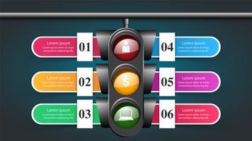 Infografica del semaforo. Sei oggetti