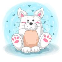 Cute cat cartoon - teddy illustration.