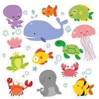 diseño de la colección de vectores del océano