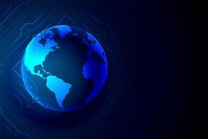 wereldwijde technologie aarde banner digitale achtergrond