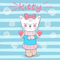 Cute, pretty love cat illustration.
