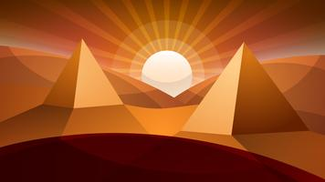 Ökenlandskap. Pyramid och sol.