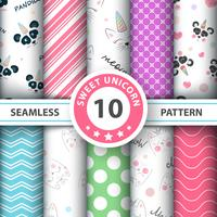 Cute panda, unicorn - seamless pattern
