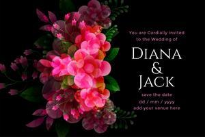 carta nera di nozze con modello di decorazione floreale