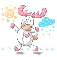 Teddy deer love - cartoon funny illustration.